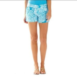 LILLY PULITZER Ariel Blue Lion in the Sun Shorts